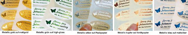 Heißprägeaufkleber mit metallicfarben