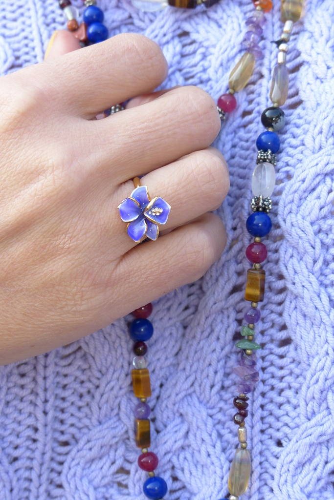 Lilac orchid ring and multi-stone necklace