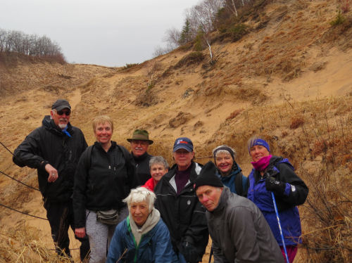 group of hikers at Arcadia Dunes
