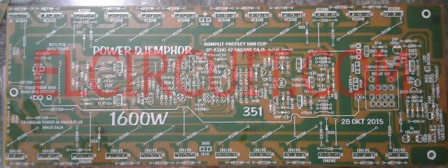 Gambar PCB Layout rangkaian power amplifier 1600W