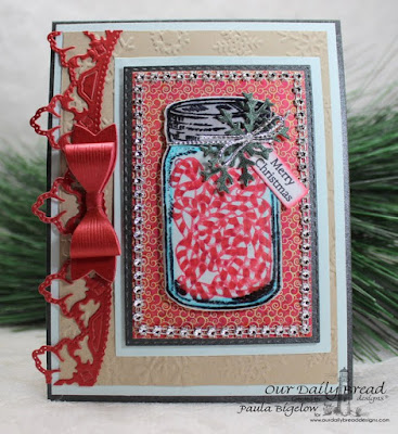 Our Daily Bread Designs, Blue Ribbon Winner, Canning Jar Fillers, Medium Bow Dies, Canning Jars Dies, Rectangles Dies, Double Stitched Rectangles Dies, Leafy Edged Border Dies, Christmas Collection 2015 Paper, Designed by Paula Bigelow