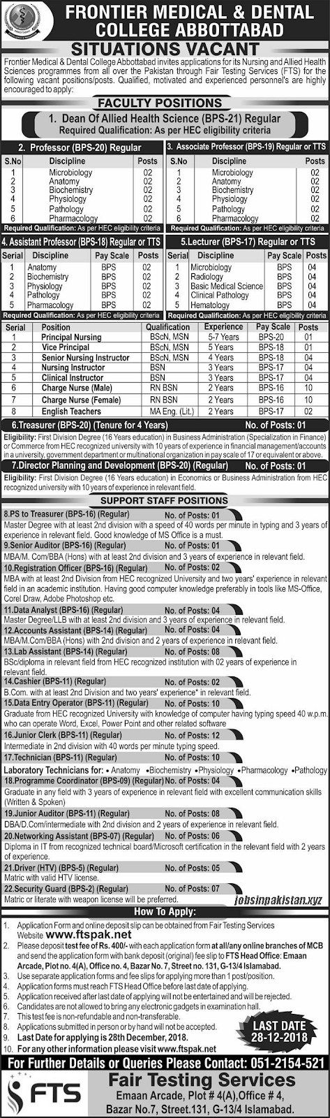 Advertisement for Frontier Medical & Dental College Jobs December 2018