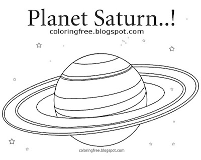 Free school children learning printable space illustration simple image planet Saturn coloring pages