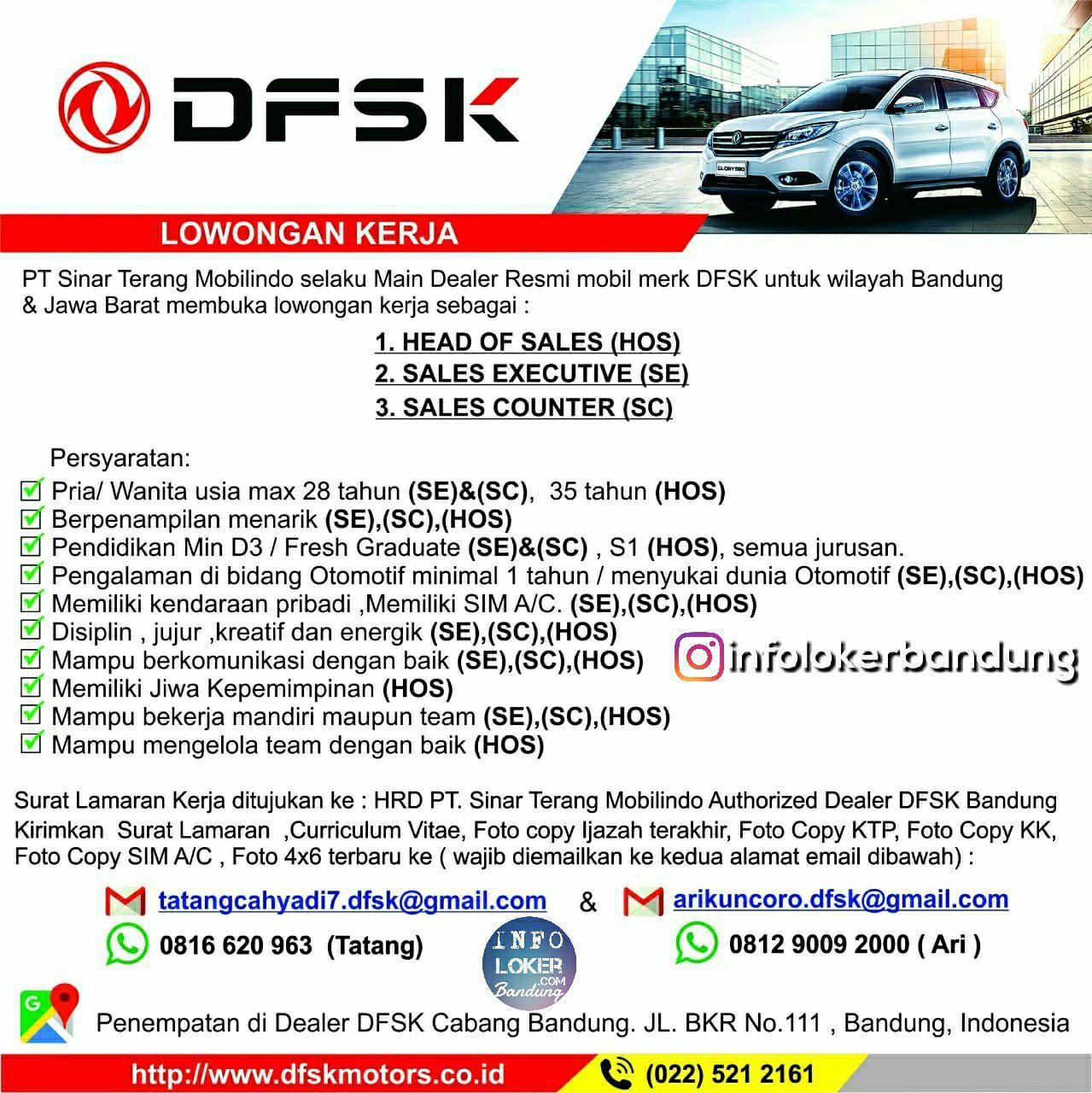 Lowongan Kerja PT. Sinar Terang Mobilindo ( DFSK Mobil ) Bandung Juli 2018 - infolokerbandung.com