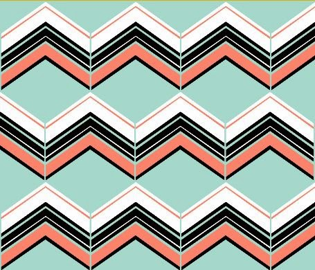 Coral/Mint/B&W Chevron fabric by eSheep Designs