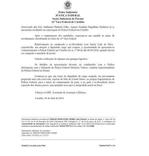 Moro determina prisão do ex-presidente Lula