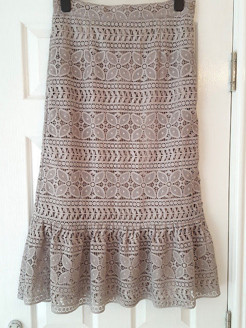 grey lace midi skirt