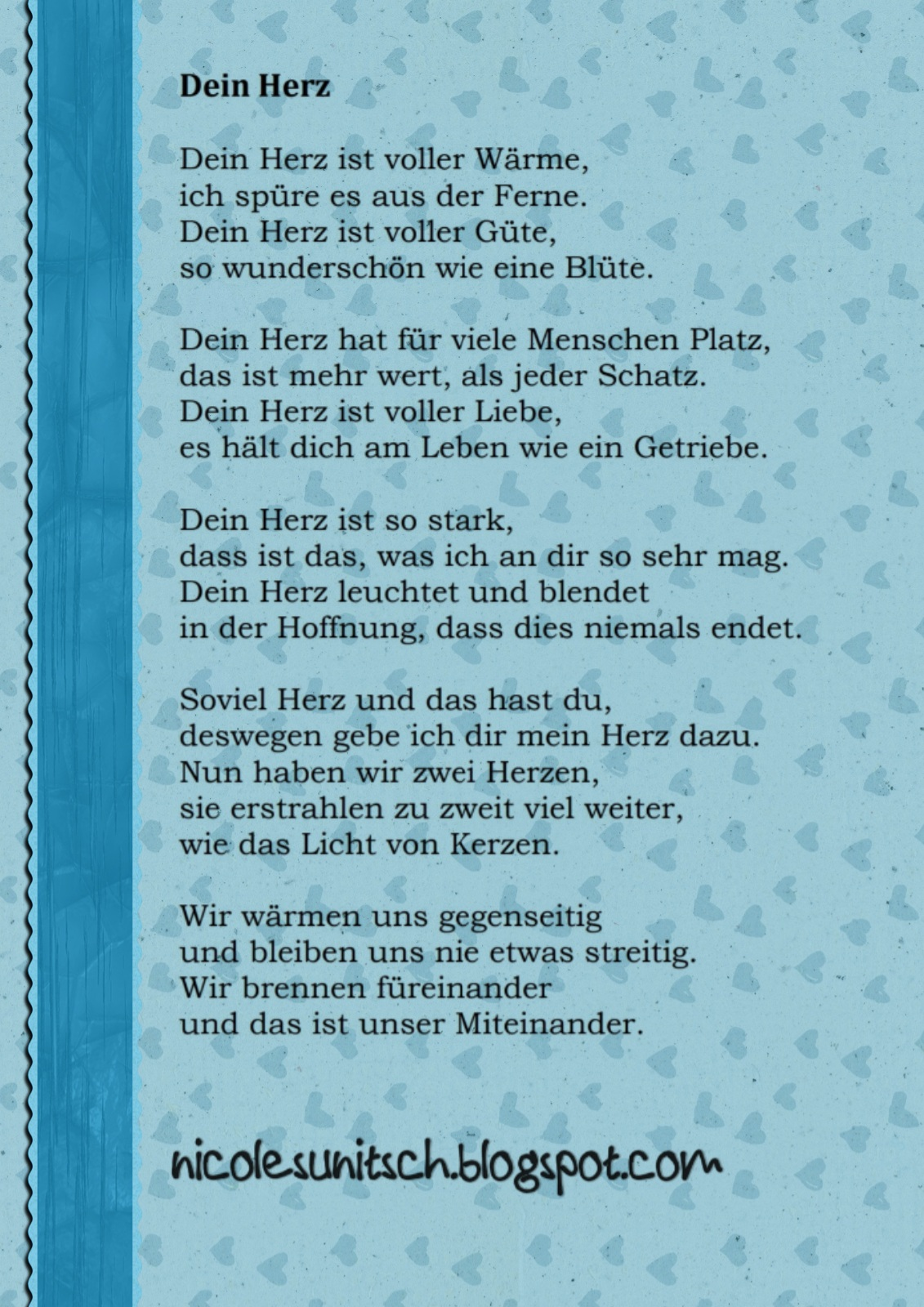 Gedichte Von Nicole Sunitsch Autorin Gedicht Dein Herz Aus