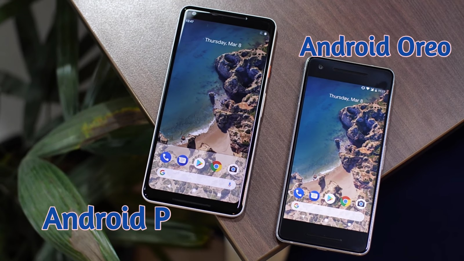 Android P side by side with android oreo