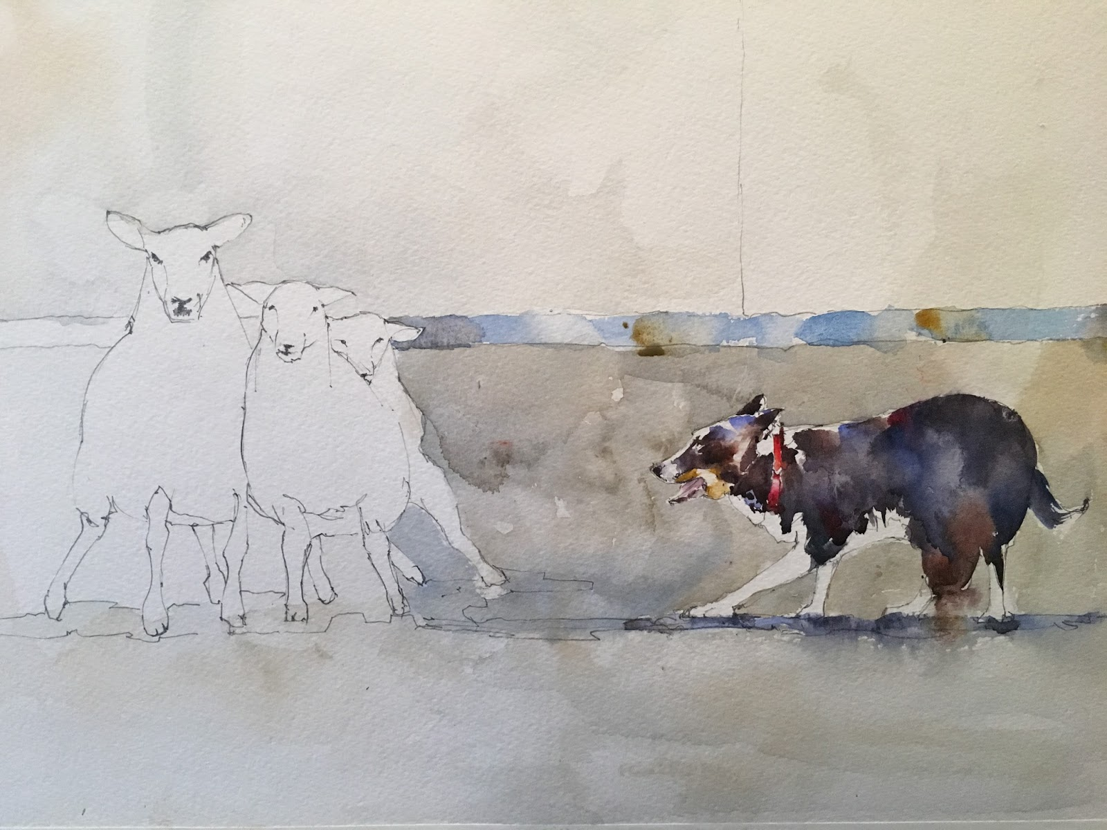sheep and collie day 14 of 30 in 30 binary colors paintings