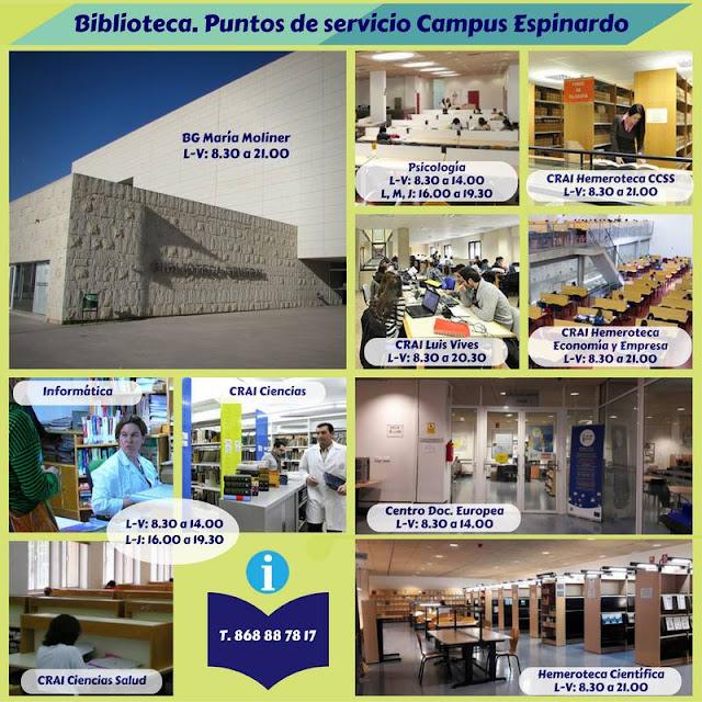 ¿Conoces los puntos de servicio de la Biblioteca en el Campus de Espinardo? ¿Y los horarios?