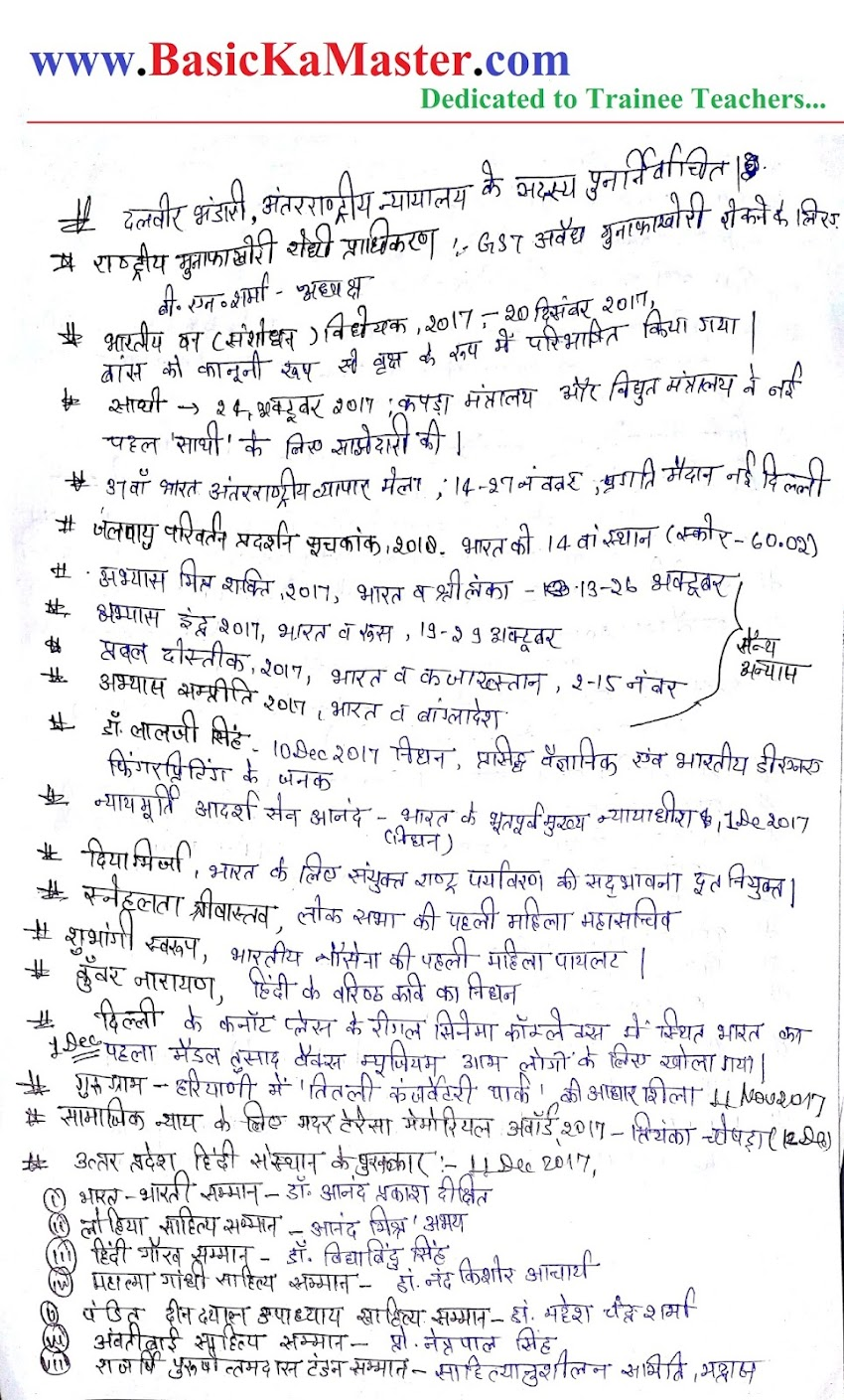 सामान्य ज्ञान /समसामयिकी hand written notes- 7 Current notes