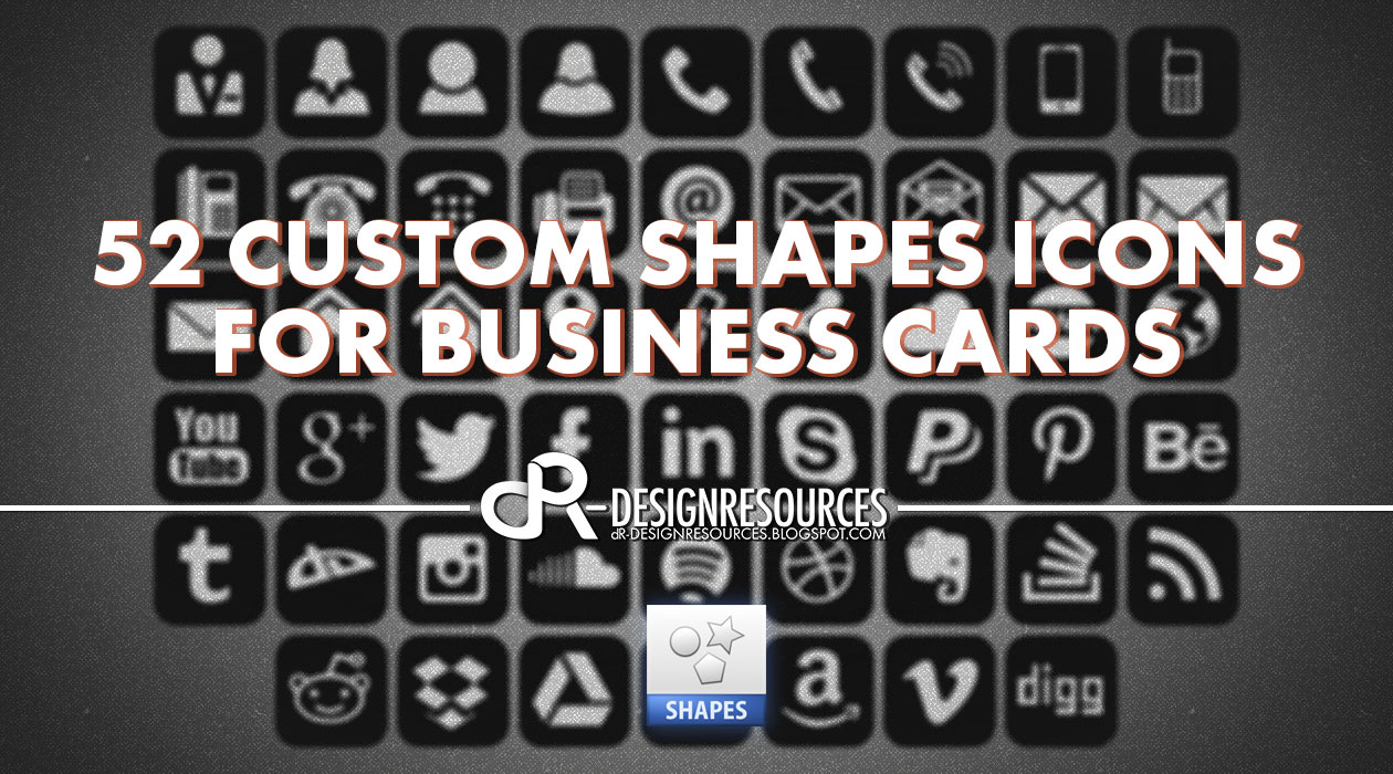 Free photoshop tutorials 52 custom shapes for business cards reheart Choice Image