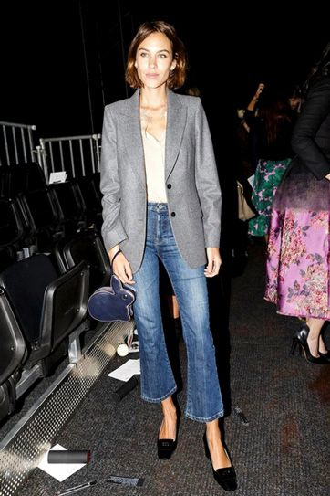 cropped flared jeans with blazer and block heels celebrity street style
