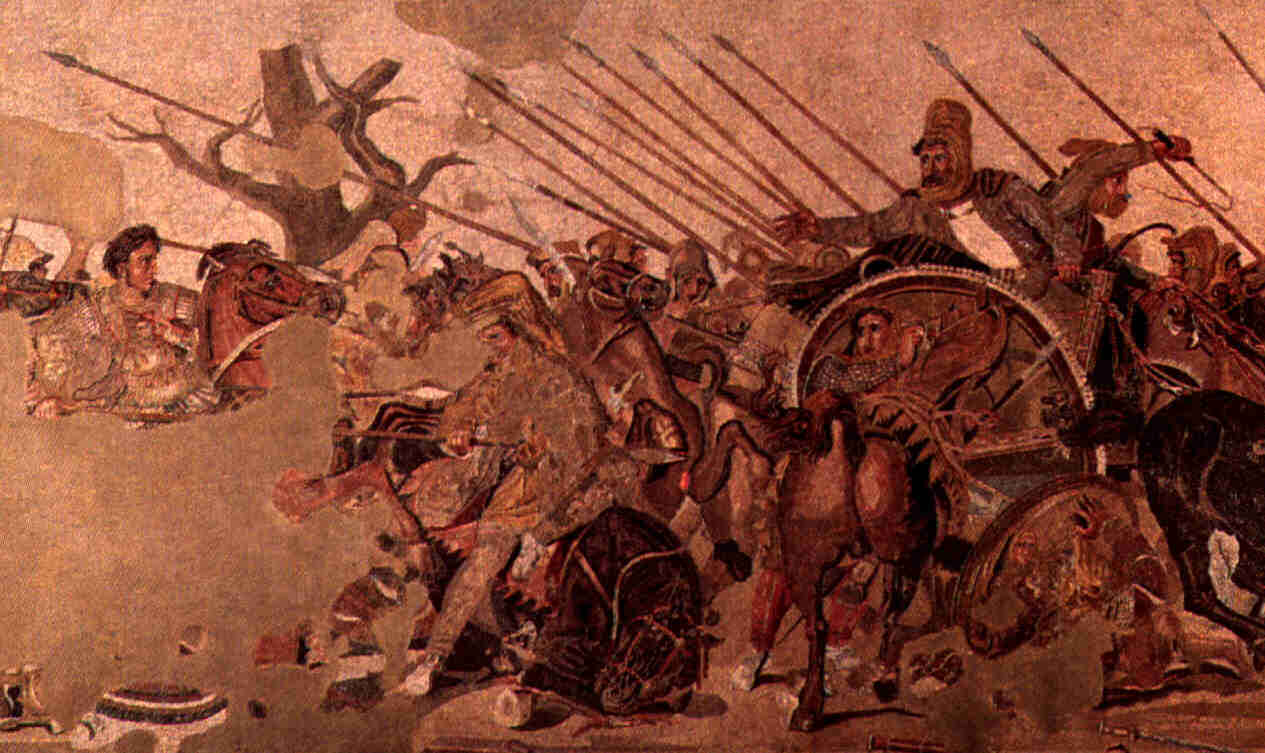 ancient classical and medieval history of the mediterranean you can see alexander on his horse on the left above where the picture was ruined from old age and darius ii on the right in the large chariot wearing the