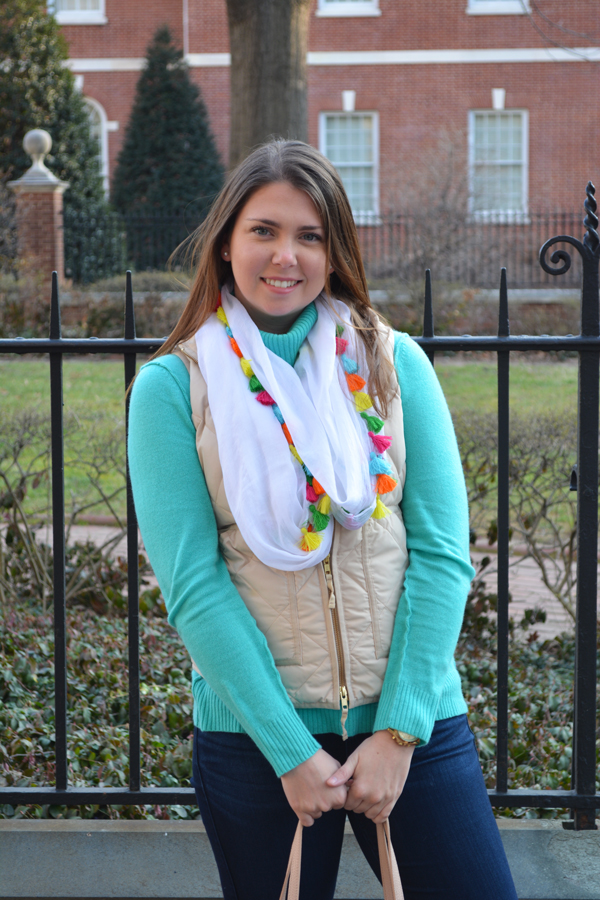 Multi color tassel scarf and AQUA cashmere turtleneck styled.