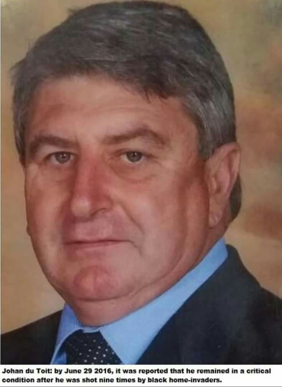 #ATTACK: UPDATE: Still critical: #Akasia deputy-headmaster Johan du Toit (58) shot nine times and remains in a critical condition in hospital: