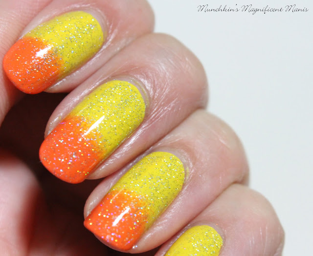 Yellow and Orange Gradient Nail Design