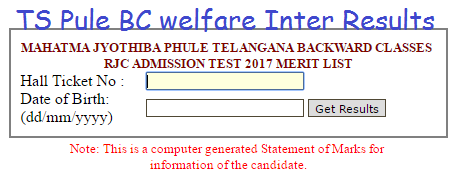 TS BC Welfare #Inter Degree Results 2018 District Wise #Selection list MJPTBCWREIS Telangana