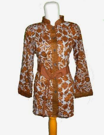model blus batik kerah shanghai