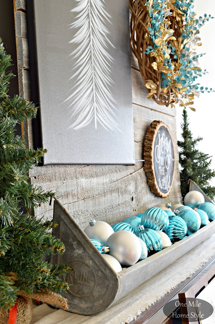 Silver and Blue Christmas Ornaments Displayed in a Rustic Feeder | Christmas Home Tour - One Mile Home Style