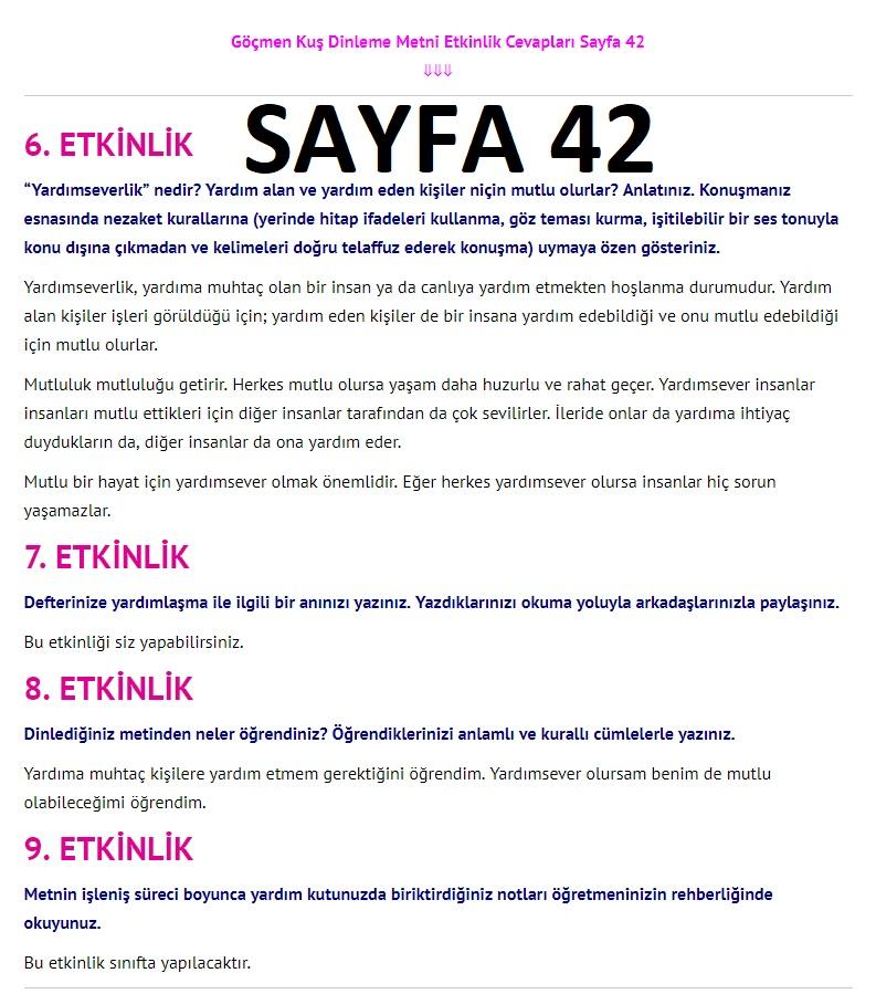3. Sınıf Türkçe Çalışma Kitabı Cevapları Dikey Yayınları Sayfa 42