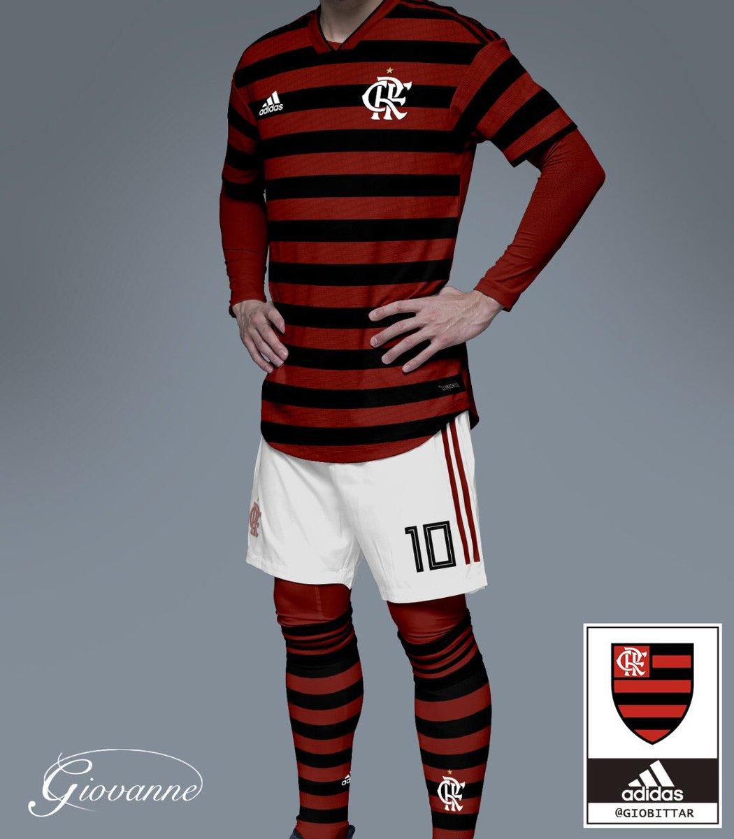 ecdfb65cbcd0c Uniforme vermelho e preto para o Flamengo em 2019 - Arte   giobittar