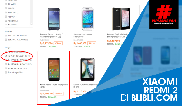 Xiaomi Redmi 2 di Blibli.com