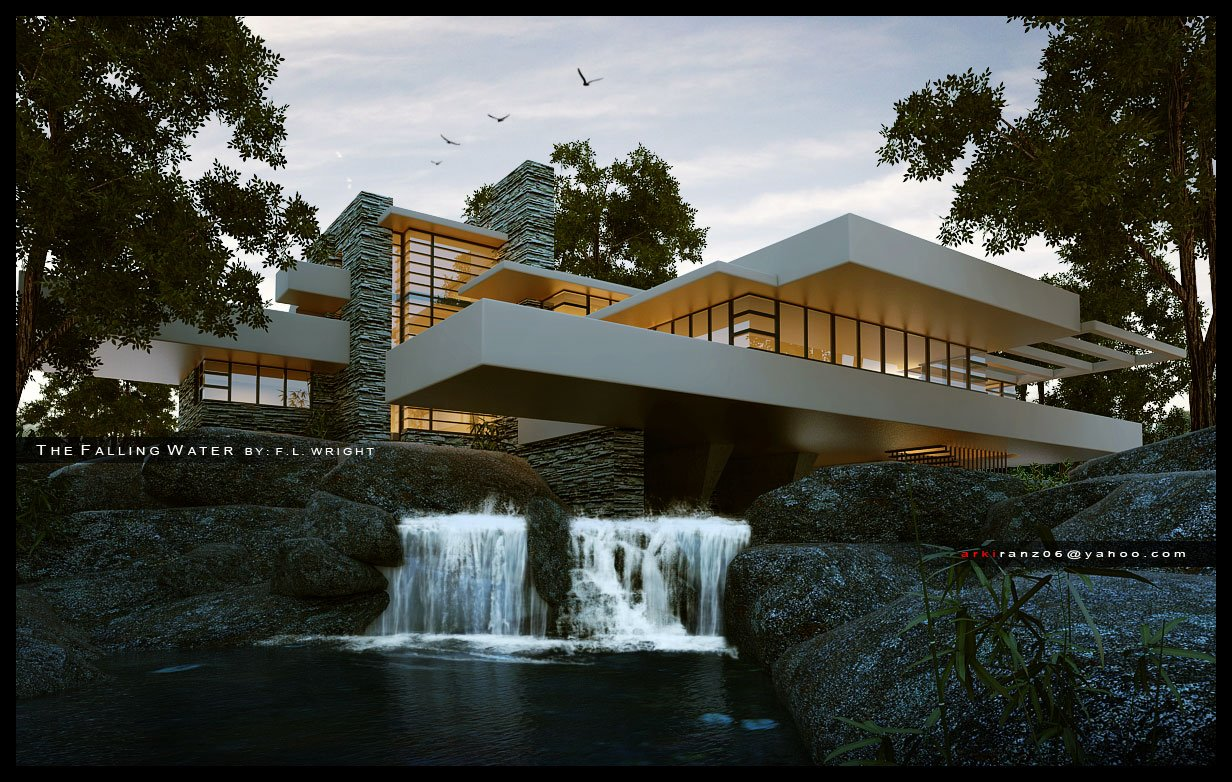 Wallpaper Falling Water Sketchup Texture Falling Water House Skp Challenge June