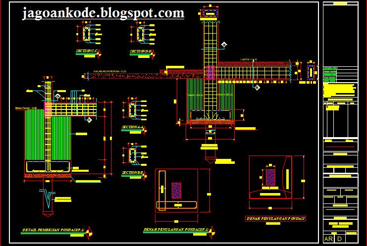 Detail Pondasi Tapak Gambar Kerja Autocad File Dwg Jagoan Kode