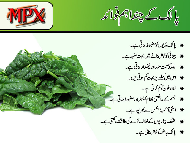 Health Benefits of Spinach in urdu
