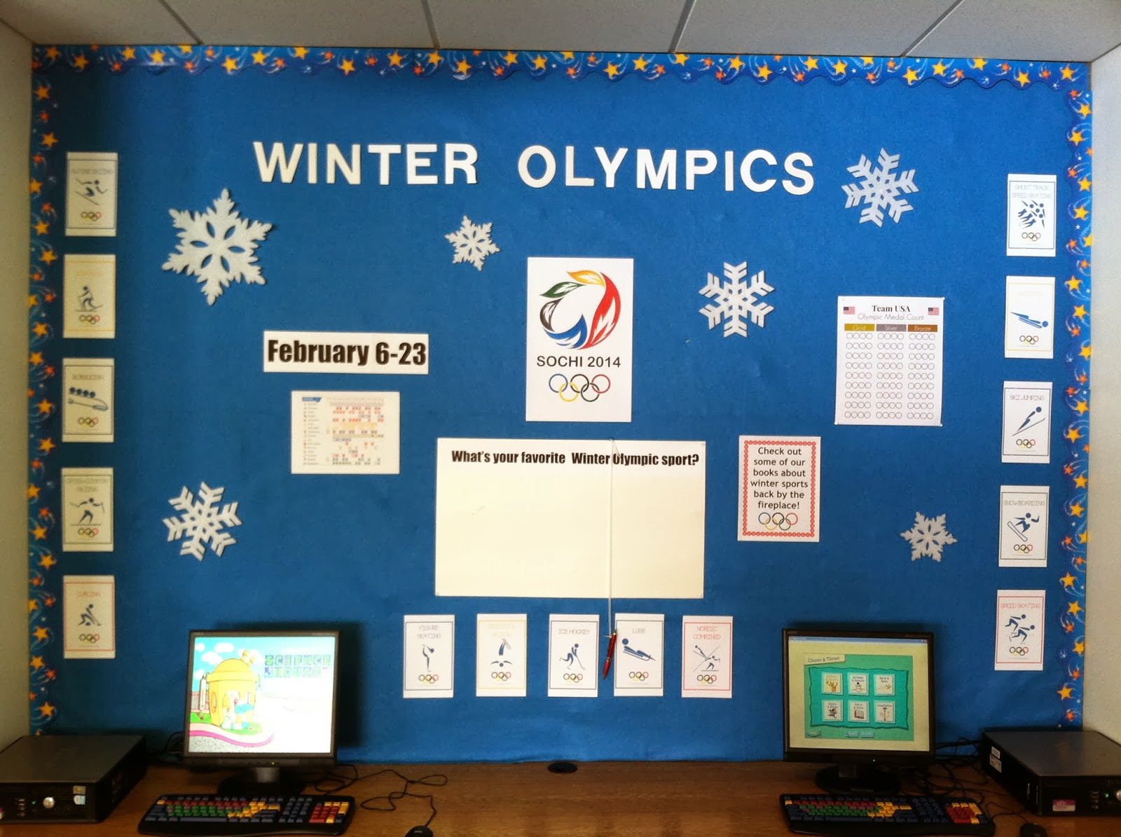 The Lion Is A Bookworm Bulletin Board Winter Olympics