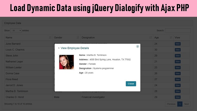 Ajax PHP - Load Data in Modal with Dialogify Plugin