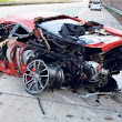 Ferrari 430 Scuderia sports car after an accident at a speed of 300 km