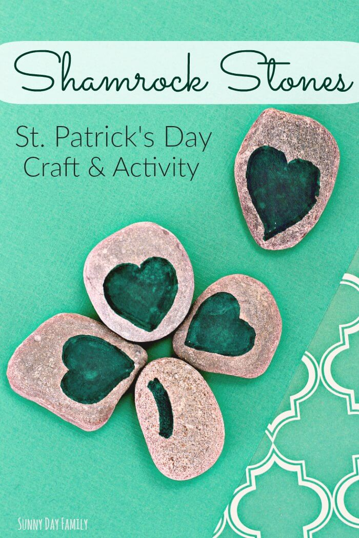 Shamrock Stones! This fun shamrock craft makes a great St. Patrick's Day activity for kids. Kids love putting together their own shamrock puzzles - perfect for counting practice too!