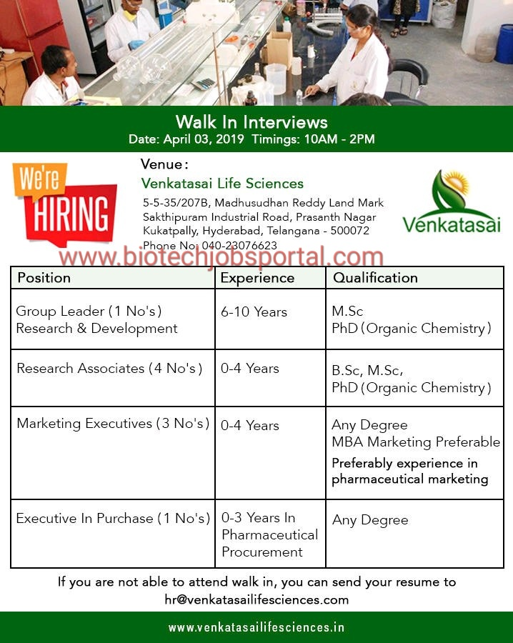 Walk in for BSc ,MSc,PhD fresher and experience candidate at