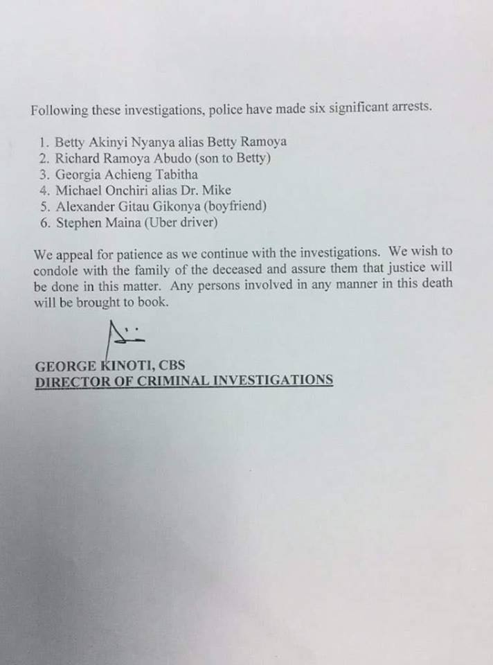 BREAKING: DCI Release Statement On Death Of Caroline Mwatha Ochieng