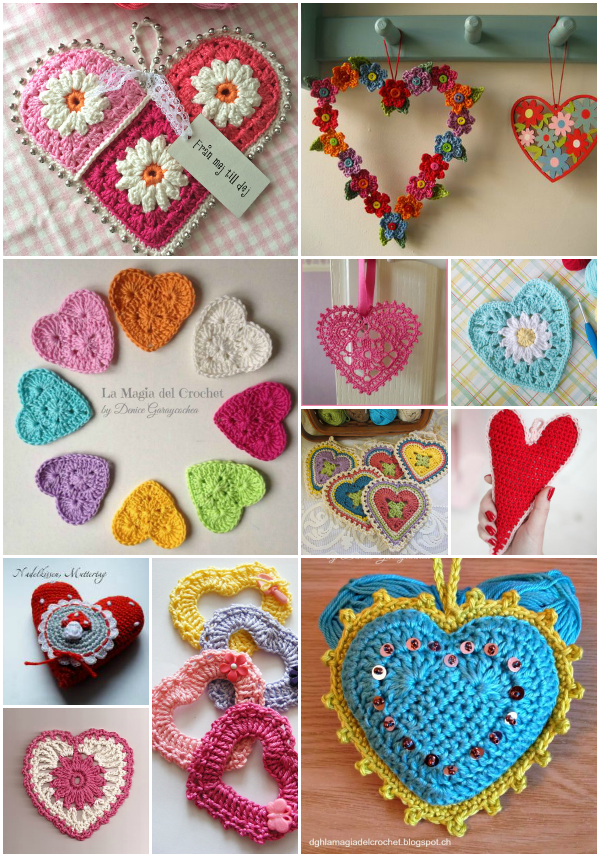 Corazones a crochet en todos los tamaños y colores. | Manualidades