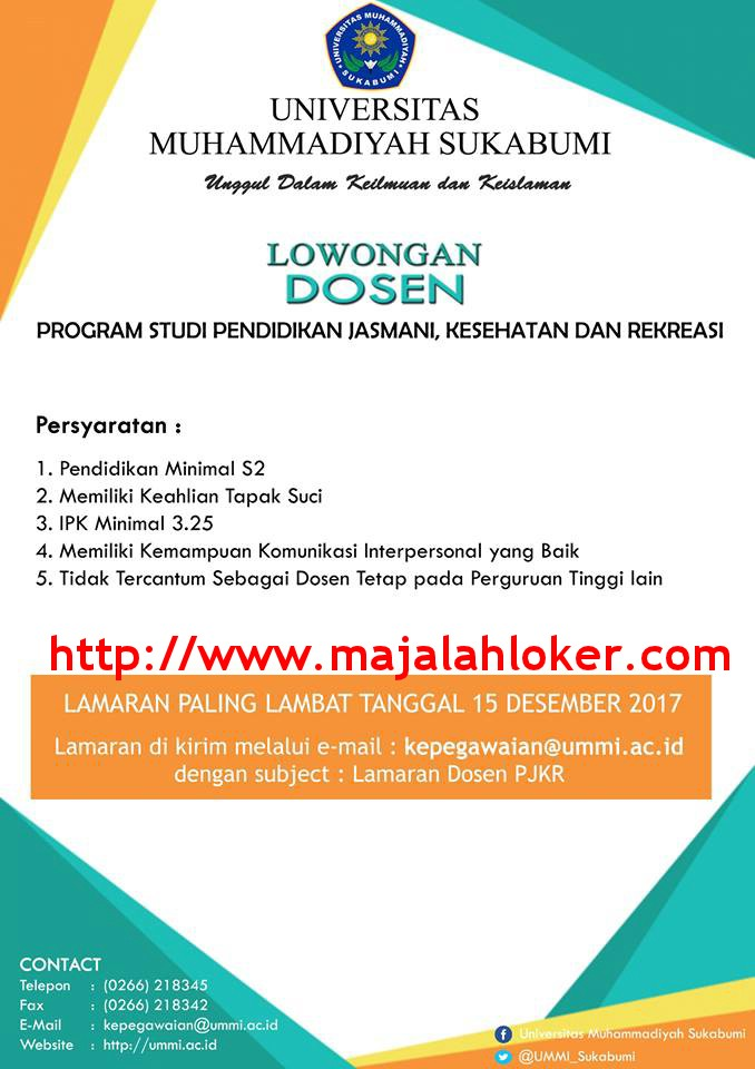 Lowongan Dosen Prodi Pendidikan Jasmani Kesehatan dan Rekreasi Universitas Muhammadiyah Sukabumi (UMMI)