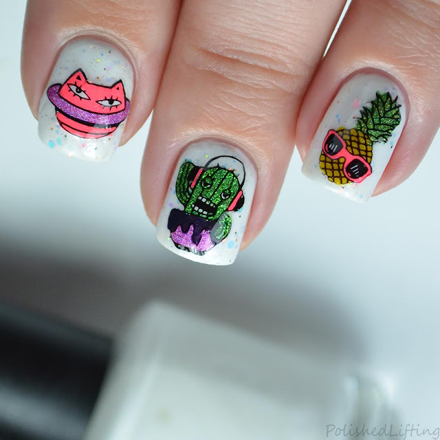 caturn cactus pineapple stamped nail art