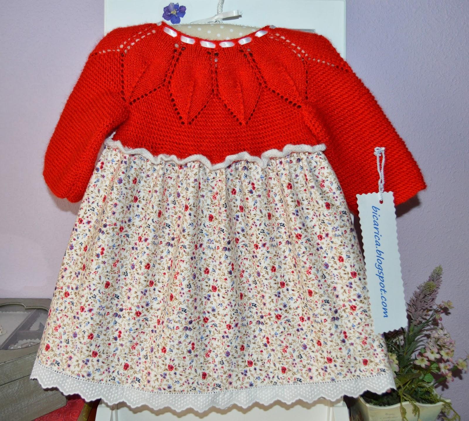 Vestido hecho a mano de punto y algodón con canesu de hojas 1bae3b519941