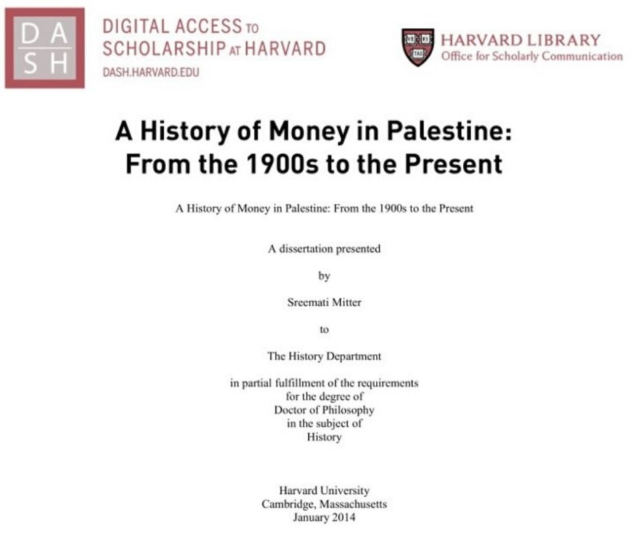 A History of Money in Palestine: From the 1900s to the Present