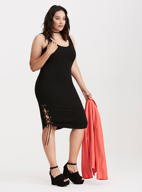 Plus Size Jersey Knit Lace Up Bodycon Dress in Black by Torrid Front