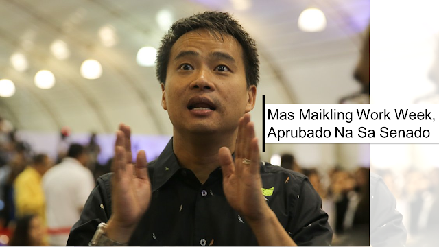 """Under the proposal, which is now approved, alternative working hours shall not exceed 48 hours a week and there is no reduction of existing benefits.  Senator Joel Villanueva, author, and sponsor of the measure said his proposal is an """"answer to the changes in the labor market and in the nature of employment.""""  """"As I always say, we are now in the age of robotics, the so-called Fourth Industrial Revolution or Industry 4.0. Today, work need not be confined in a certain place or office. Work need not happen at the same time. Work can be done remotely,"""" he said.       Ads           The Senate approved on third reading on Monday a bill that will give employers and employees an option to adopt flexible working arrangements.  With 17 affirmative votes and no negative votes, the Senate approved Bill 1571 or the proposed Alternative Working Arrangement Act.  The bill seeks to the amendment of Article 83 of the Labor Code. It seeks to make an exception to the normal eight hours of work a day Under the proposal, alternative working hours shall not exceed 48 hours a week and there is no reduction of existing benefits.  Senator Joel Villanueva, author, and sponsor of the measure said his proposal is an """"answer to the changes in the labor market and in the nature of employment.""""  Villanueva, chairman of the Senate Committee on Labor, Employment and Human Resources Development, noted that an alternative working arrangement or flexible working is a necessity and that every Filipino worker deserves to have this statutory right.  Ads      Sponsored Links    The senator also shared that a number of companies companies are already implementing non-traditional working arrangements, such as flexitime, four-day workweek, compressed workweek, working from home, shift flexibility, among others, to give their workers more independence and control over their work.  Apart from the benefits, the bill provides to employees, the senator said the bill has massive benefits as well to employers.  Am"""