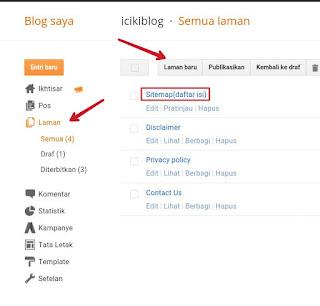 Cara Membuat Sitemap atau Daftar Isi untuk Blog