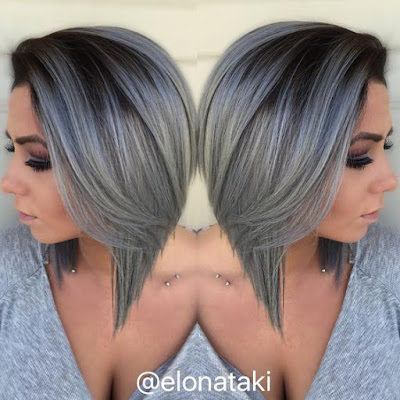 short dark gray bob haircut