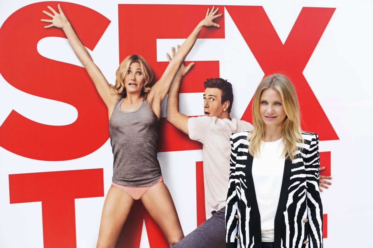 Cameron Diaz wears a Balmain zebra print blazer for the 'Sex Tape' Paris photocall
