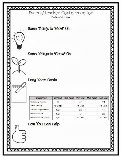 Nurturing noggins parent teacher conferences for Parent teacher meeting report template