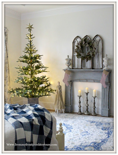 French Country Farmhouse-Buffalo Check Blanket-Blue and White-Vintage Mantel- Christmas Bedroom-From My Front Porch To Yours