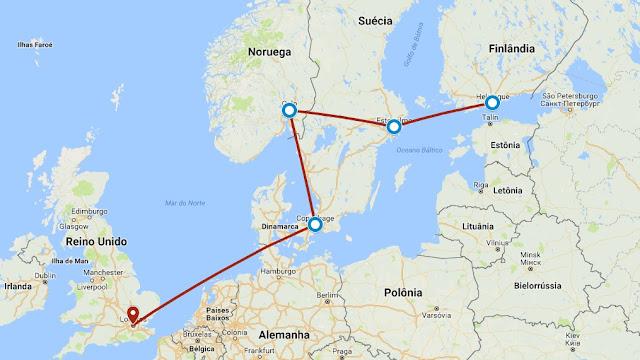 Norte da Europa, Inglaterra, Reino Unido, Noruega, Suécia, Finlândia, Londres, Oslo, Estocolmo, Helsinque, Escandinávia